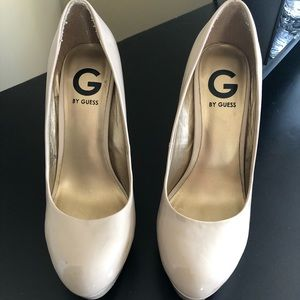 beige patten leather high heels